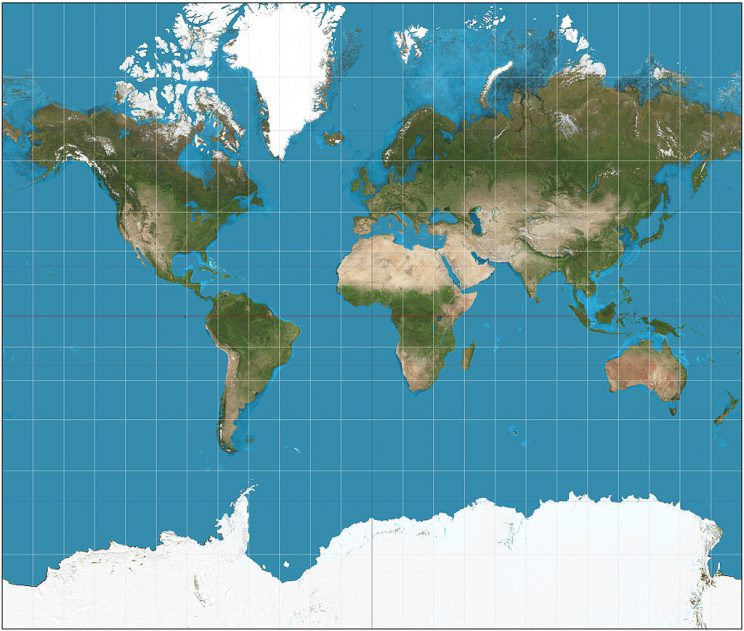 Source: https://en.wikipedia.org/wiki/Mercator_projection#/media/File:Mercator_projection_SW.jpg