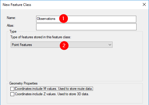 new feature class window